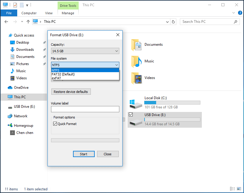 format USB drive in Windows Explorer