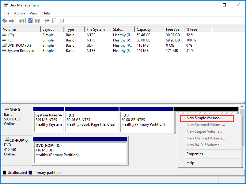 select the unallocated space in Disk Managment