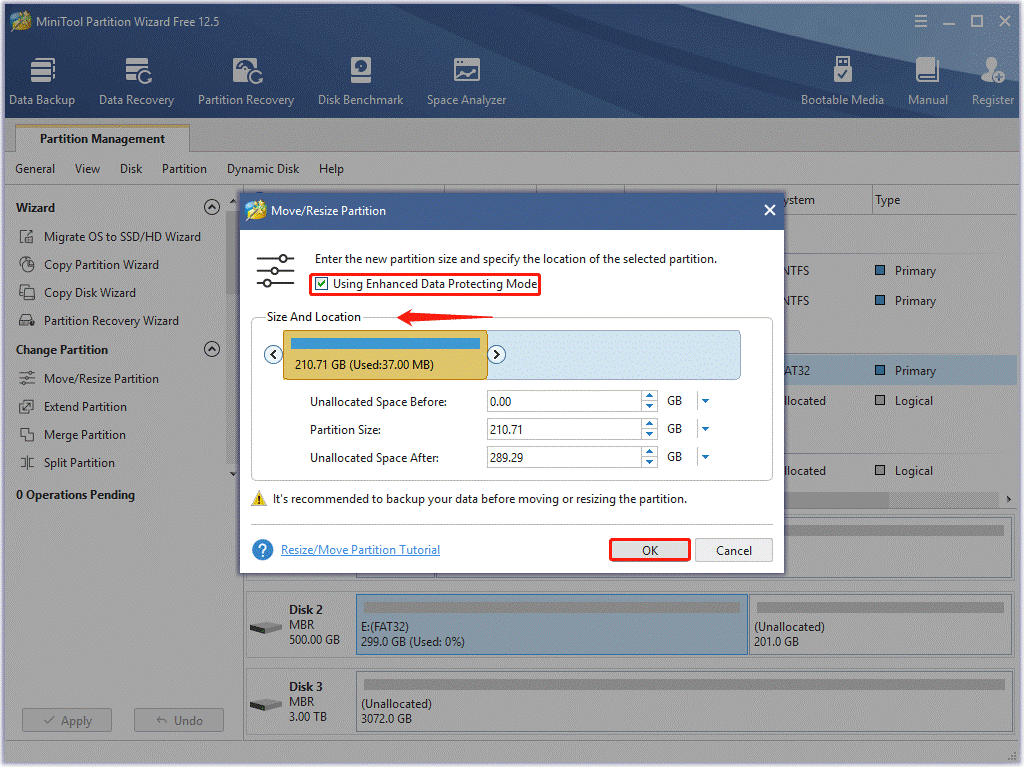 move/resize partition
