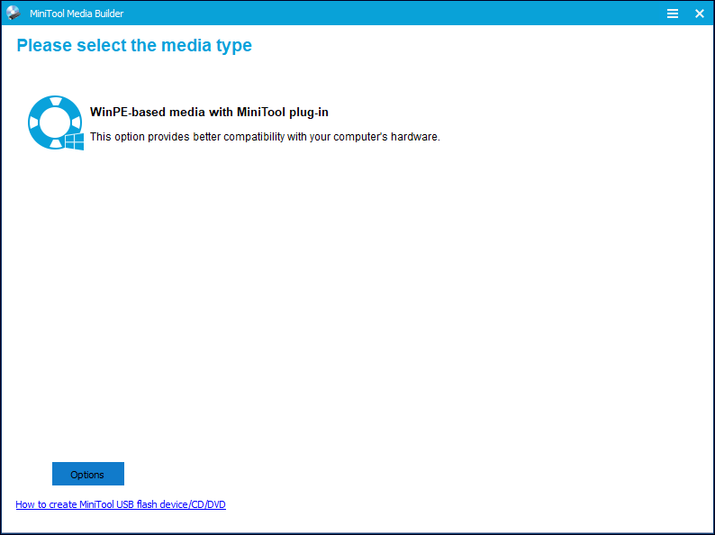 select a media type in the Partition Wizard