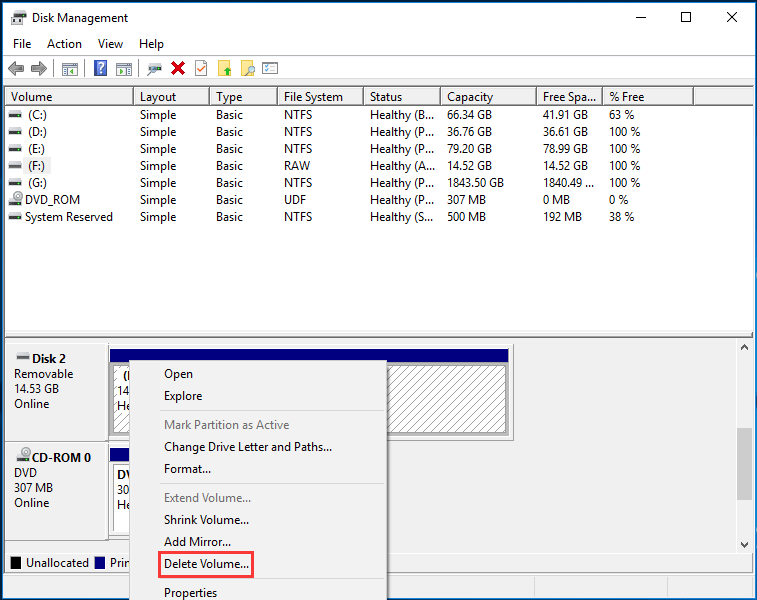 delete volume in Disk Management