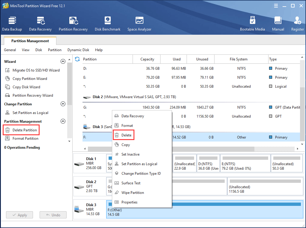 delete partition with MiniTool Partition Wizard