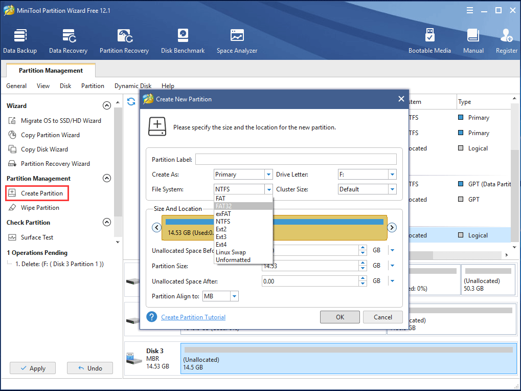 specify partition size and location for the new partition