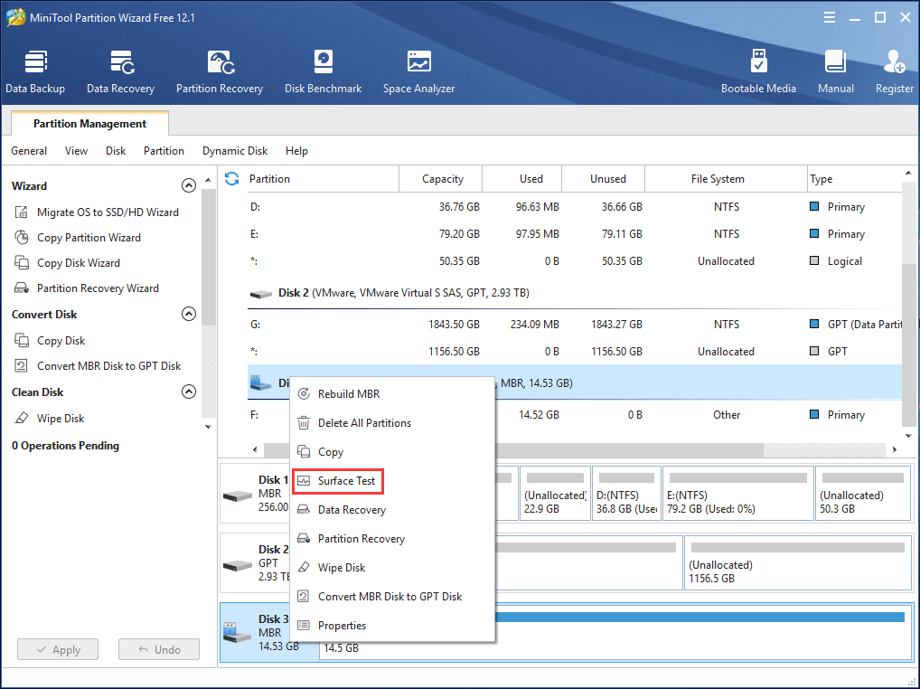 MiniTool Partition Wizard Surface Test