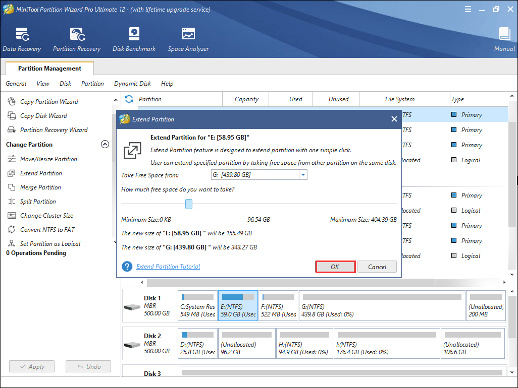 take free space from another partition