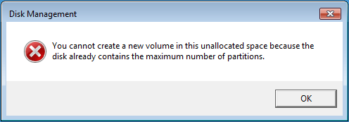 disk management error