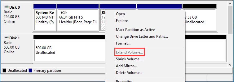 extend volume grayed out