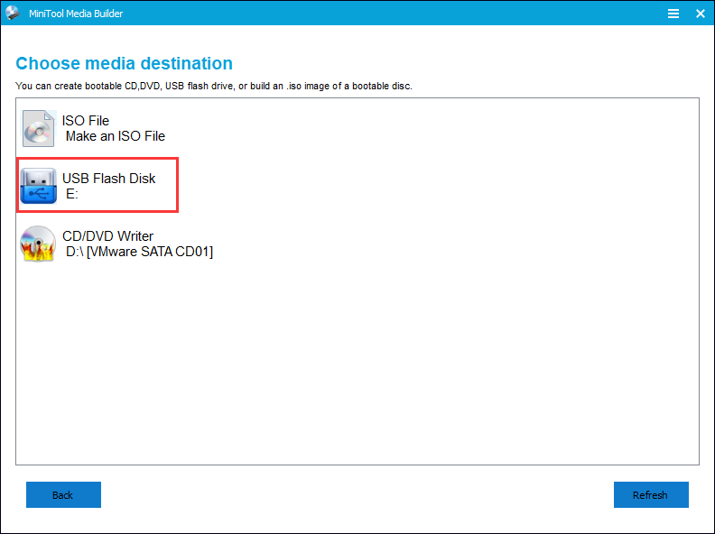 choose a media destination in the Partition Wizard
