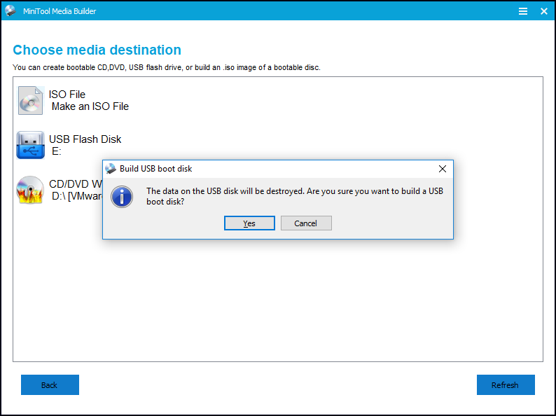 click yes to build a USB boot disk