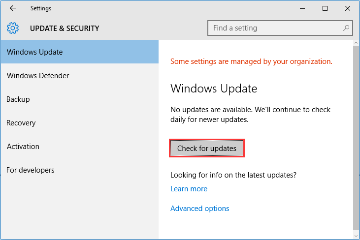 Windows check for update