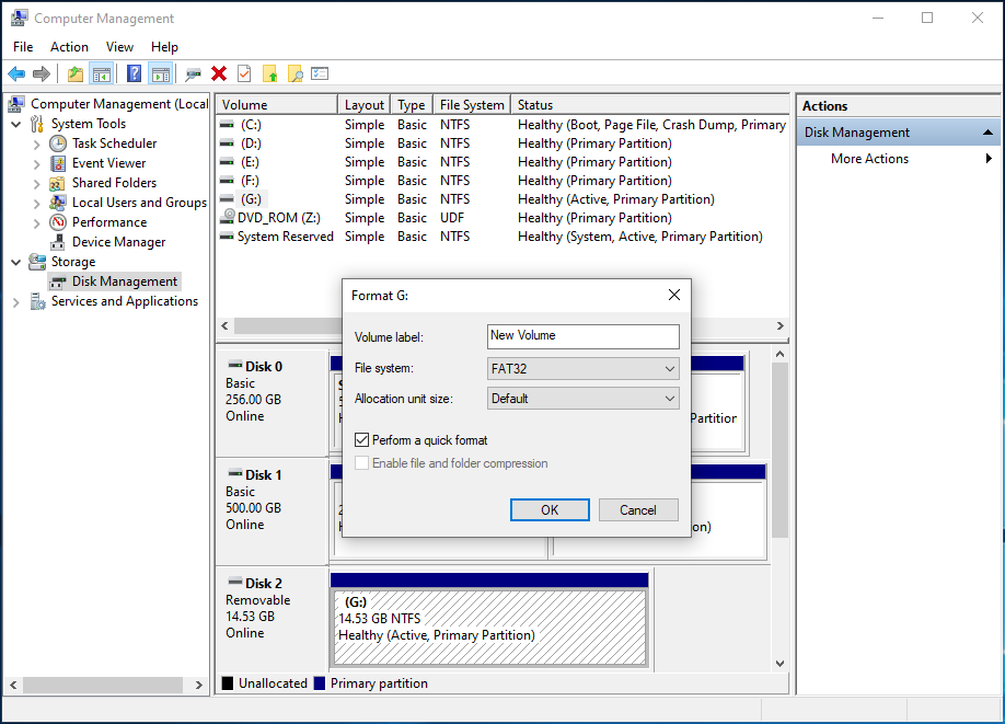 use Disk Management to format drive FAT32