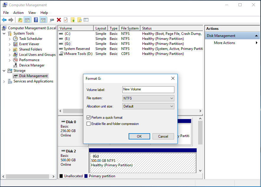 format Windows partition with Disk Management