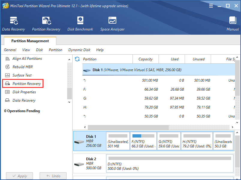 recover system reserved partition with MiniTool Partition Wizard