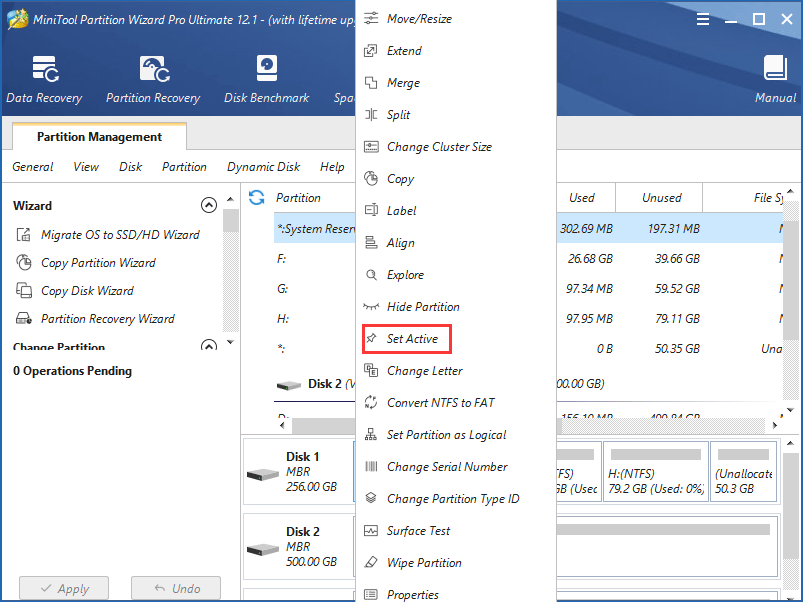 set system reserved partition active