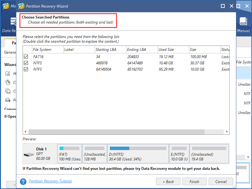 choose deleted EFI partition and existing partitions