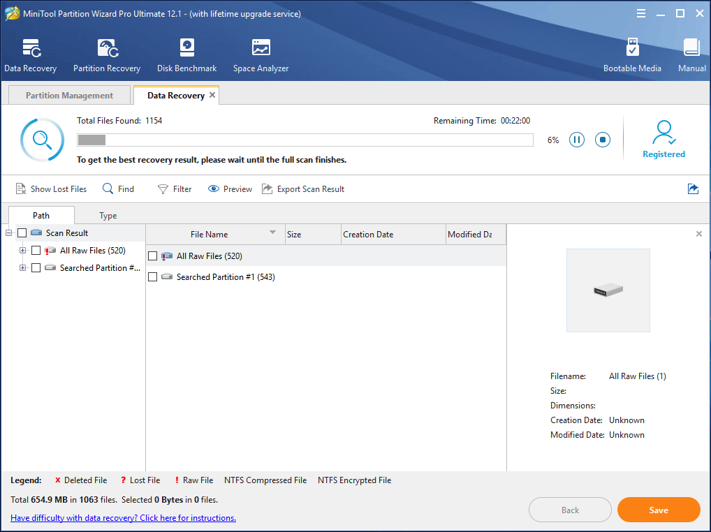 scanning seleted partition