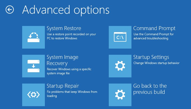 choose system image recovery to continue
