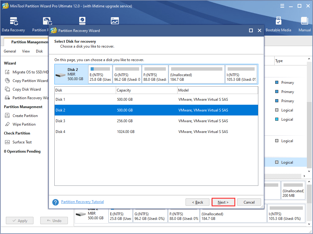 select the disk to make Seagate hard drive recovery