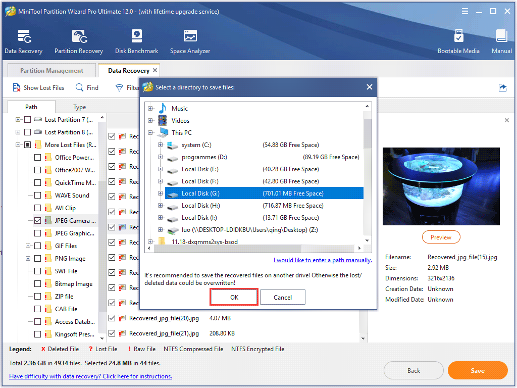 choose a directory to save the recovered files