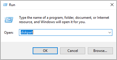 input diskpart in the Run window