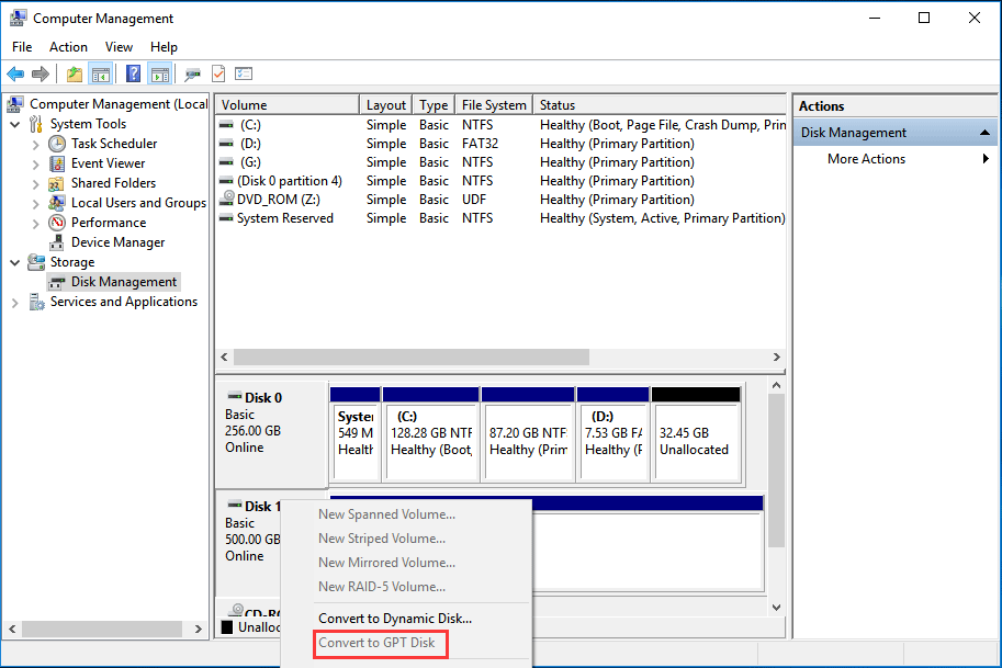 convert to GPT disk in Windows 10 Disk Management