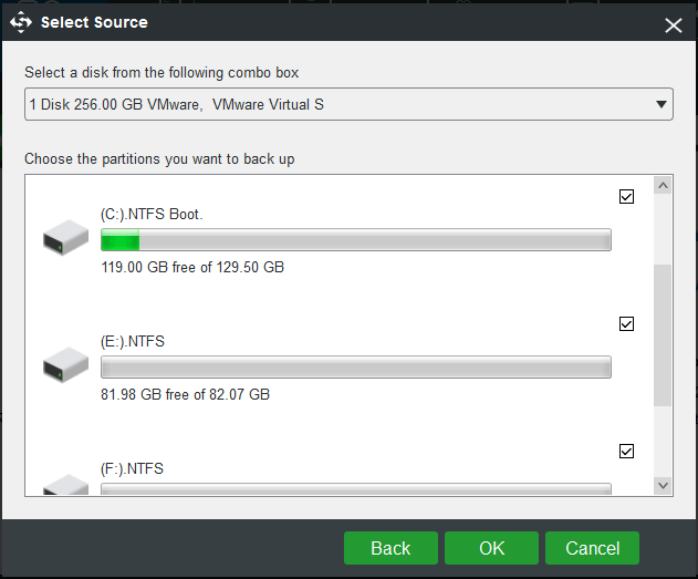 choose disk partitions to back up