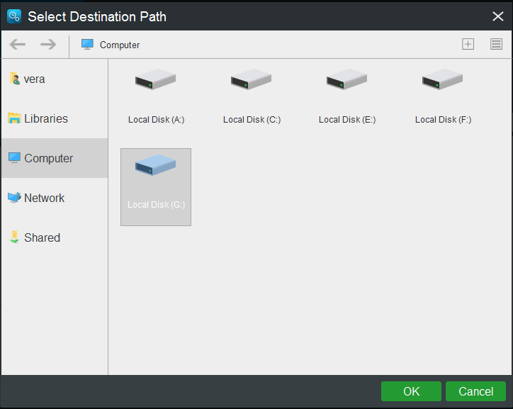 choose destination path for the backup