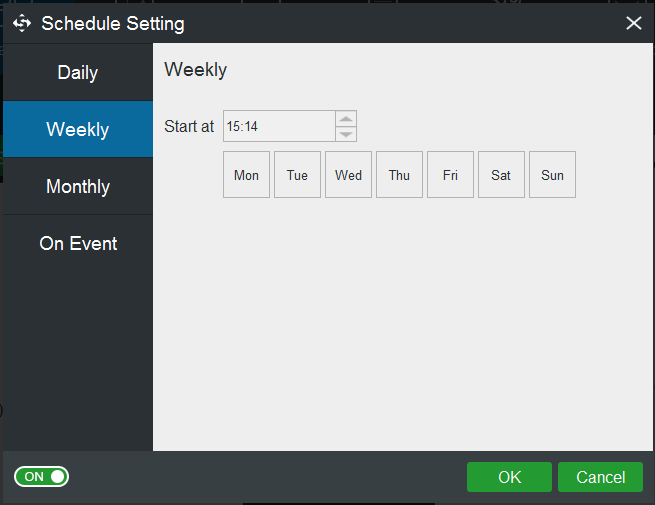 use schedule feature to create automatic backups