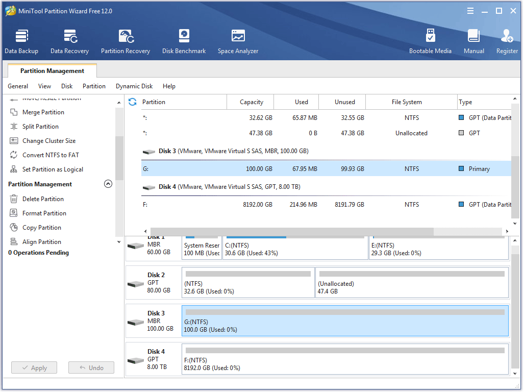 the main interface of MiniTool Partition Wizard Free