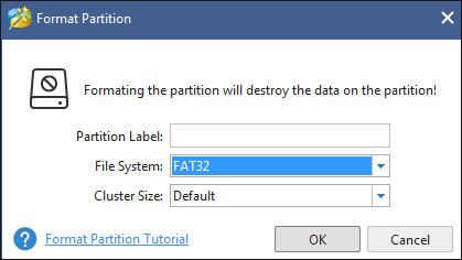select FAT32 and click OK in the pop-up window