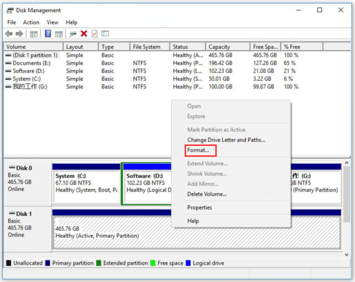 select the partitions on this hard drive and click Format.