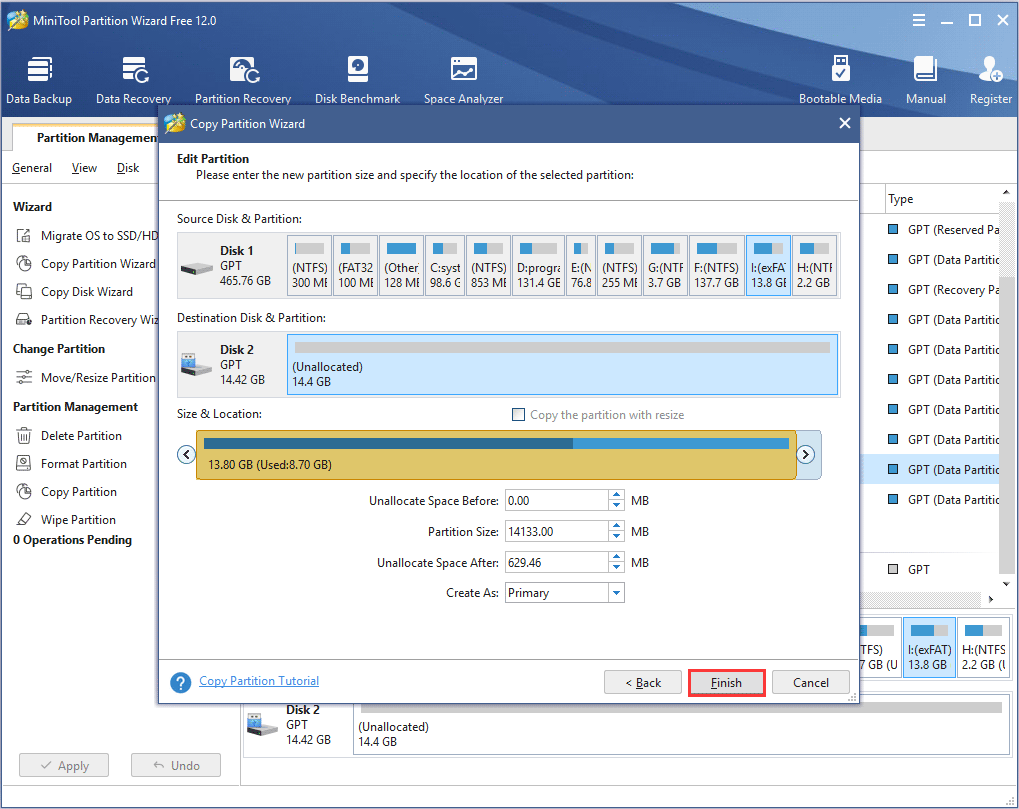 enter the new partition size and specify the location