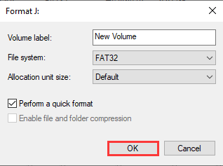 change exFAT to FAT32 and click OK