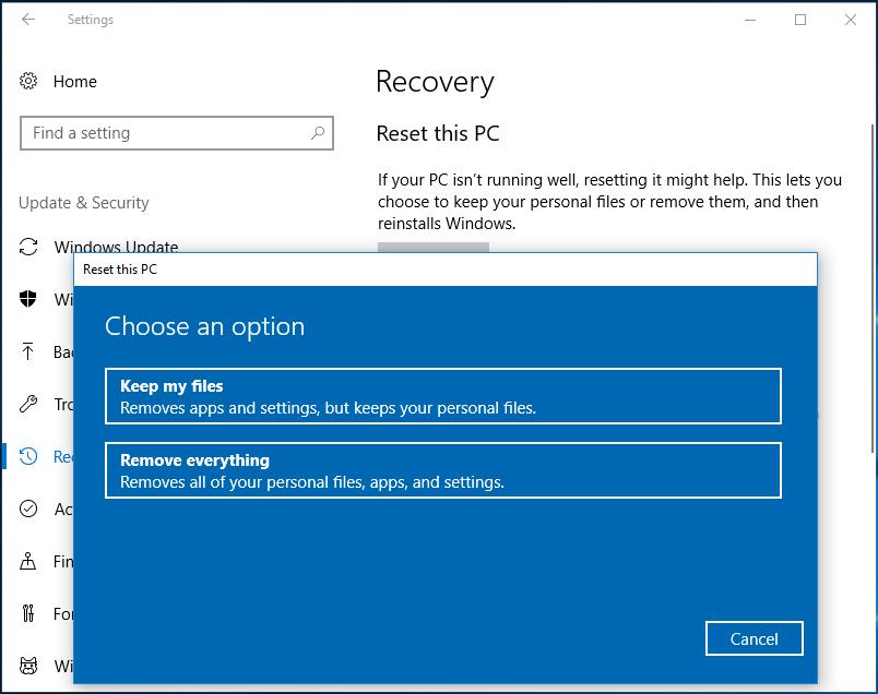 System Windows 10 zresetuj ten komputer, zachowaj moje pliki