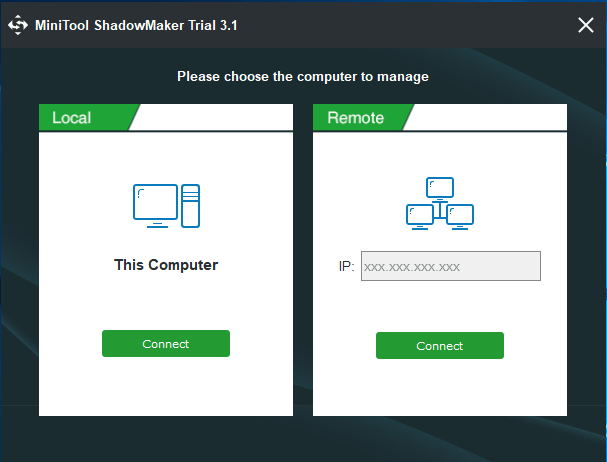 MiniTool ShadowMaker local or remote backup