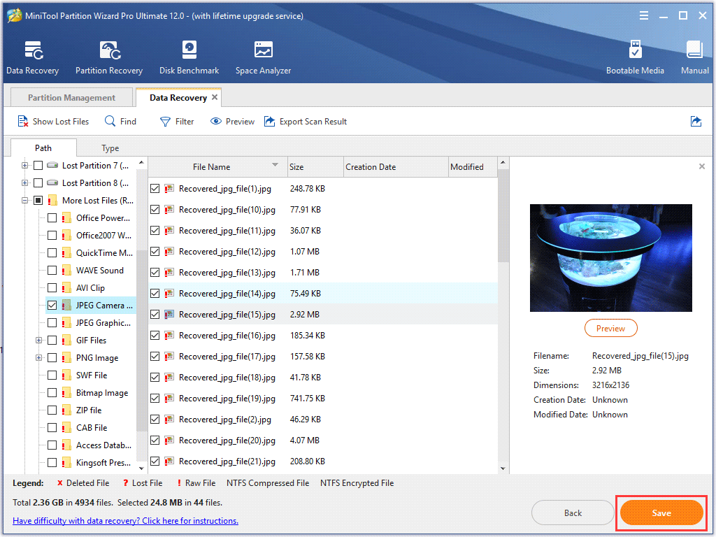 check needed files and click Save