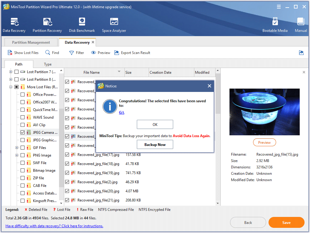 the selected files have been saved to target drive successfully.