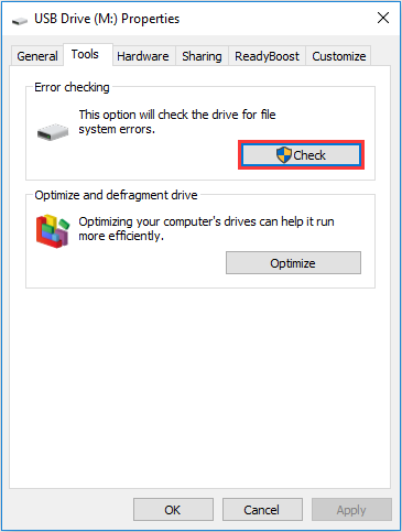 check errors for USB drive
