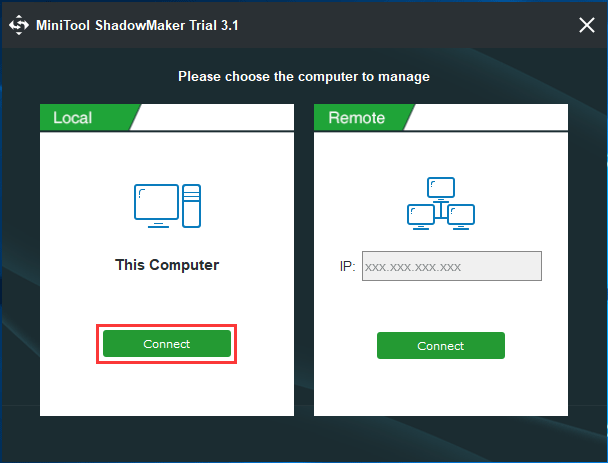 MiniTool ShadowMaker local backup or remote backup