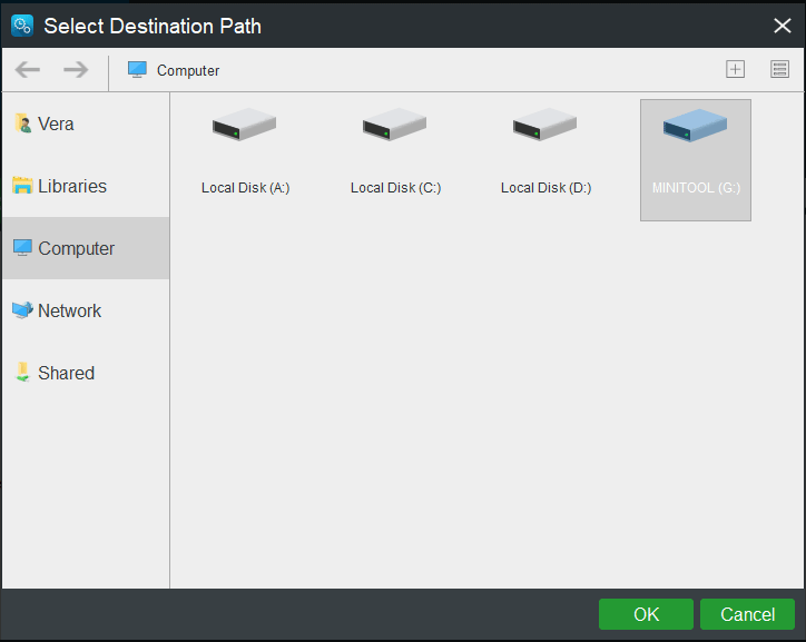 select destination path for the backup