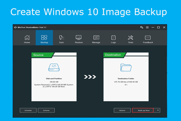 Easily & Free Create a Windows 10 Image Backup Now - MiniTool