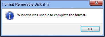 Windows unable complete format