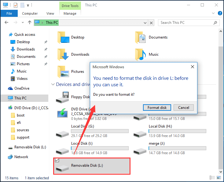 removable disk needs formatting