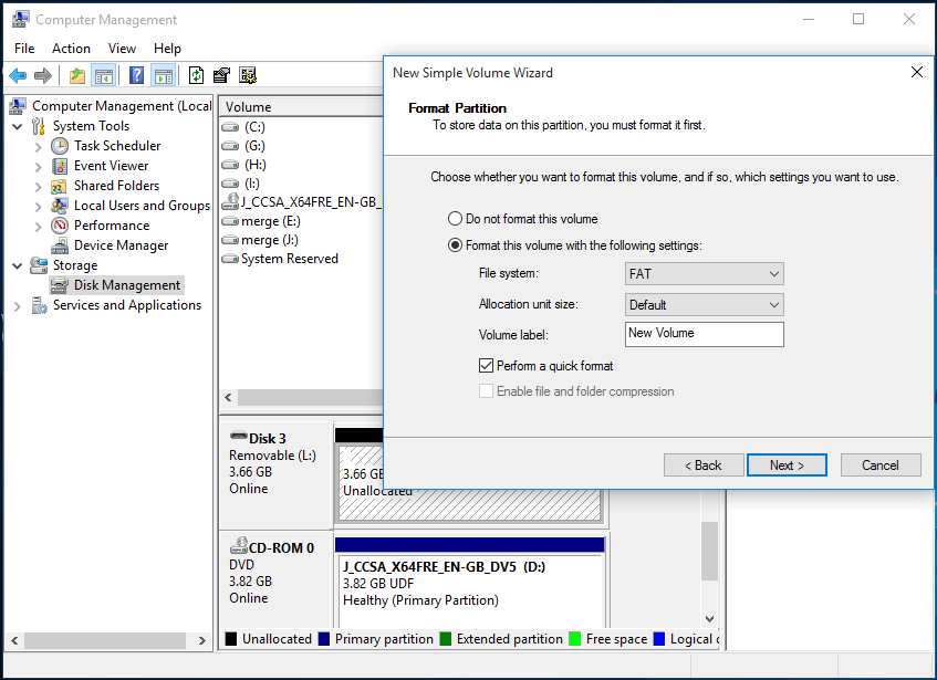 customize the new partition