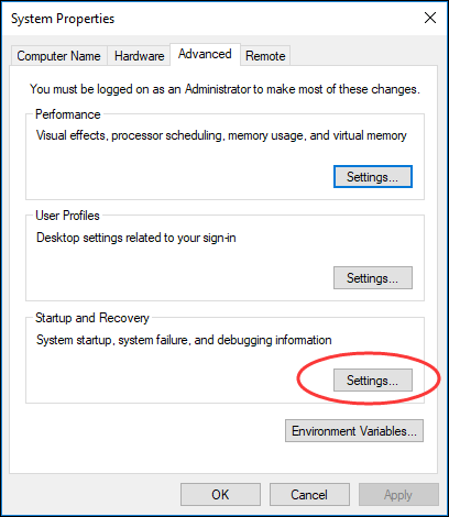 change Startup and Recovery settings