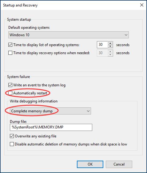 choose Complete memory dump