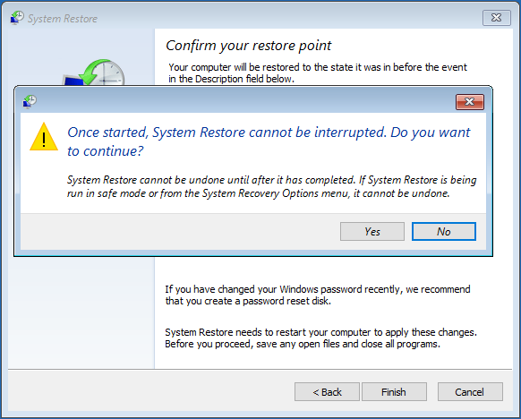 confirm system restore