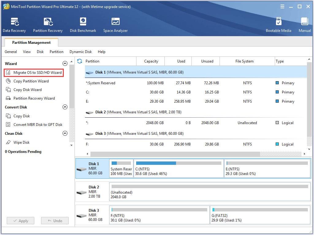 migrer le système d'exploitation vers SSD / HD