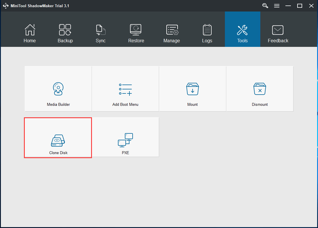 choose Clone Disk feature to continue