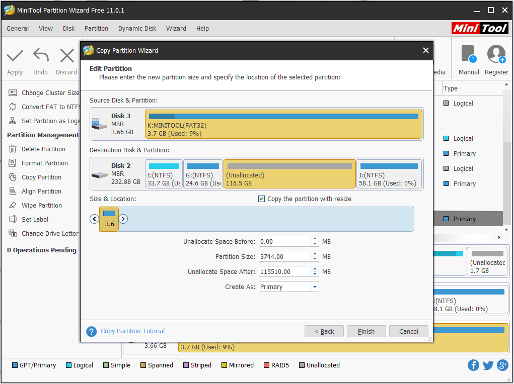 adjust partition size and location